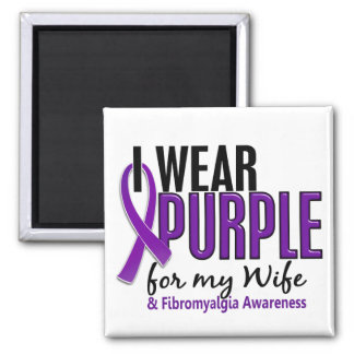 I Wear Purple For My Wife 10 Fibromyalgia 2 Inch Square Magnet