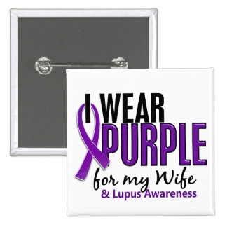 I Wear Purple For My Wife 10 Lupus 2 Inch Square Button