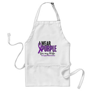 I Wear Purple For My Wife 10 Lupus Adult Apron