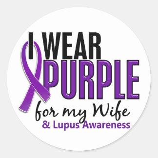 I Wear Purple For My Wife 10 Lupus Classic Round Sticker