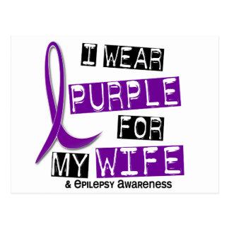 I Wear Purple For My Wife 37 Epilepsy Postcard