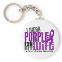 I Wear Purple For My Wife 6 Crohn's Disease Keychain