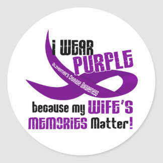 I Wear Purple For My Wife's Memories 33 Classic Round Sticker