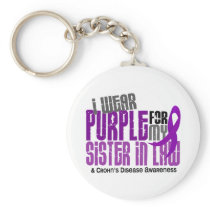 I Wear Purple For Sister-In-Law 6 Crohn's Disease Keychain
