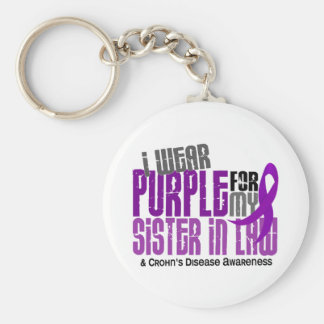 I Wear Purple For Sister-In-Law 6 Crohn's Disease Basic Round Button Keychain