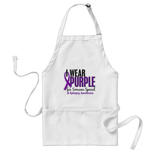 I Wear Purple For Someone Special 10 Epilepsy Adult Apron