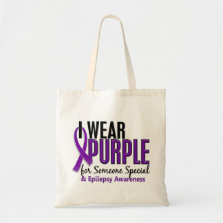 I Wear Purple For Someone Special 10 Epilepsy Budget Tote Bag