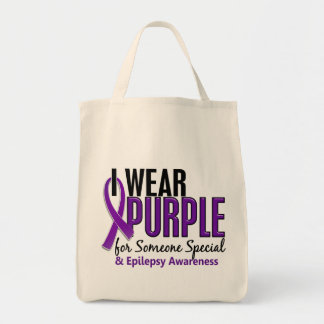 I Wear Purple For Someone Special 10 Epilepsy Grocery Tote Bag
