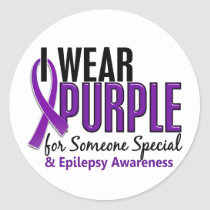 I Wear Purple For Someone Special 10 Epilepsy Classic Round Sticker