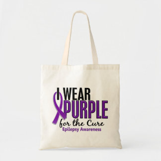 I Wear Purple For The Cure 10 Epilepsy Budget Tote Bag