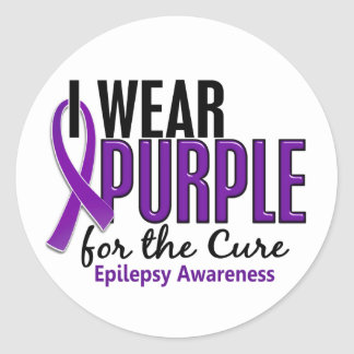 I Wear Purple For The Cure 10 Epilepsy Classic Round Sticker