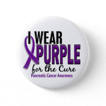 I Wear Purple For The Cure 10 Pancreatic Cancer Pinback Button