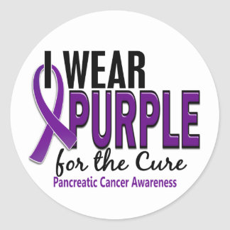 I Wear Purple For The Cure 10 Pancreatic Cancer Round Sticker