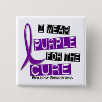 I Wear Purple For The Cure 37 Epilepsy Pinback Button
