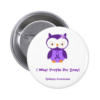 I wear Purple for Zoey 2inch round Pinback Buttons