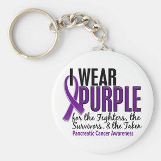 I Wear Purple FST 10 Pancreatic Cancer Keychain