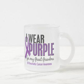 I Wear Purple Great Grandma 10 Pancreatic Cancer 10 Oz Frosted Glass Coffee Mug