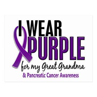I Wear Purple Great Grandma 10 Pancreatic Cancer Postcard
