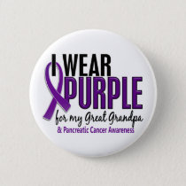 I Wear Purple Great Grandpa 10 Pancreatic Cancer Pinback Button