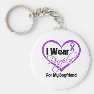 I Wear Purple Heart Ribbon - Boyfriend Basic Round Button Keychain