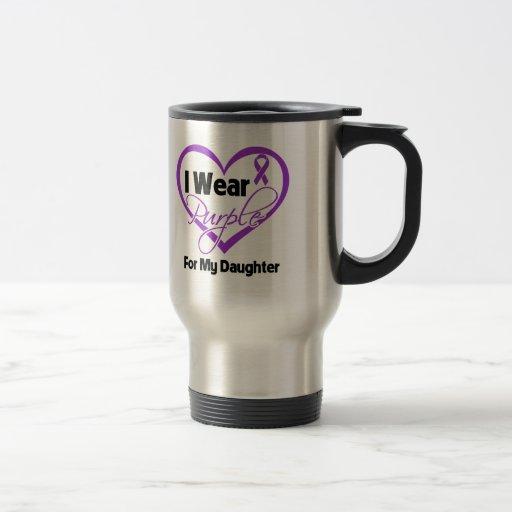 I Wear Purple Heart Ribbon - Daughter 15 Oz Stainless Steel Travel Mug