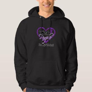 I Wear Purple Heart Ribbon - Girlfriend Hoodie