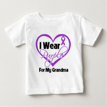 I Wear Purple Heart Ribbon - Grandma Baby T-Shirt