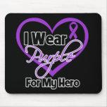 I Wear Purple Heart Ribbon - Hero Mouse Pads