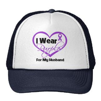 I Wear Purple Heart Ribbon - Husband Trucker Hat