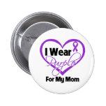 I Wear Purple Heart Ribbon - Mom Button