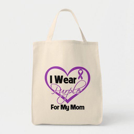 I Wear Purple Heart Ribbon - Mom Grocery Tote Bag