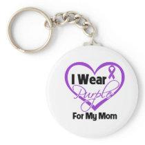 I Wear Purple Heart Ribbon - Mom Keychain