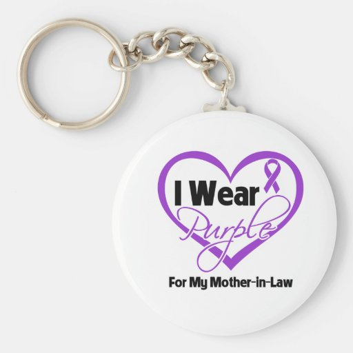 I Wear Purple Heart Ribbon - Mother-in-Law Basic Round Button Keychain