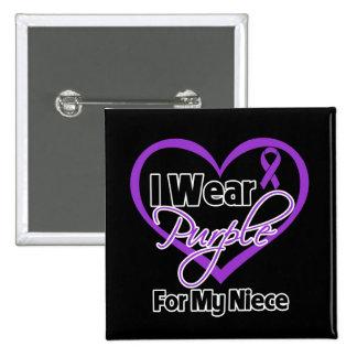 I Wear Purple Heart Ribbon - Niece Pinback Buttons