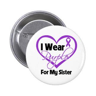 I Wear Purple Heart Ribbon - Sister 2 Inch Round Button