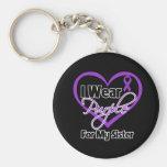 I Wear Purple Heart Ribbon - Sister Basic Round Button Keychain