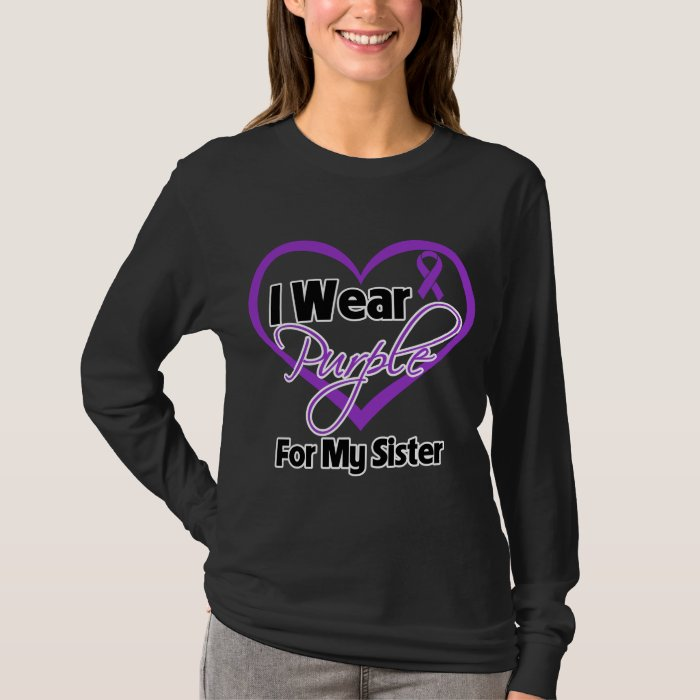 I Wear Purple Heart Ribbon - Sister T-Shirt