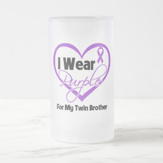 I Wear Purple Heart Ribbon - Twin Brother 16 Oz Frosted Glass Beer Mug