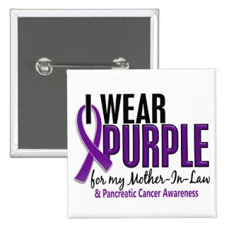 I Wear Purple Mother-In-Law 10 Pancreatic Cancer 2 Inch Square Button