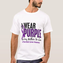 I Wear Purple Mother-In-Law 10 Pancreatic Cancer T-Shirt