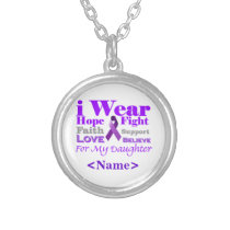 I Wear Purple - My Daughter Has Epilepsy Silver Plated Necklace