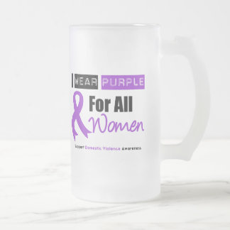 I Wear Purple Ribbon Women Domestic Violence 16 Oz Frosted Glass Beer Mug