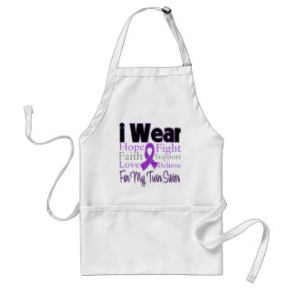 I Wear Purple Twin Sister Pancreatic Cancer Adult Apron