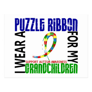 I Wear Puzzle Ribbon For Grandchildren 46 Autism Postcard