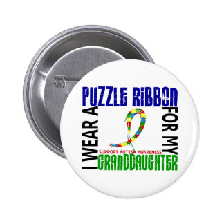 I Wear Puzzle Ribbon For Granddaughter 46 Autism Pinback Button