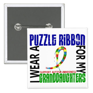 I Wear Puzzle Ribbon For Granddaughters 46 Autism Pinback Buttons