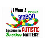I Wear Puzzle Ribbon For My Brother 33 AUTISM Postcard