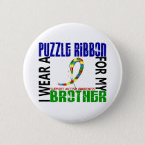 I Wear Puzzle Ribbon For My Brother 46 Autism Pinback Button