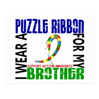 I Wear Puzzle Ribbon For My Brother 46 Autism Postcard