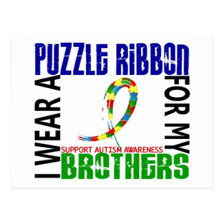 I Wear Puzzle Ribbon For My Brothers 46 Autism Postcard